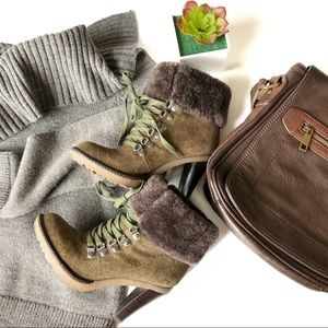 Via Spiga Suede and Fur Lace Up Heeled  Boot